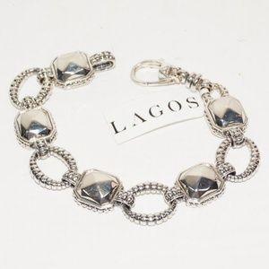 LAGOS 925 ST SILVER ROCKS LINK BRACELET